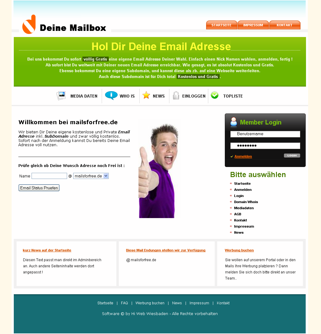 Komplettes Email System inkl. Subdomain Service